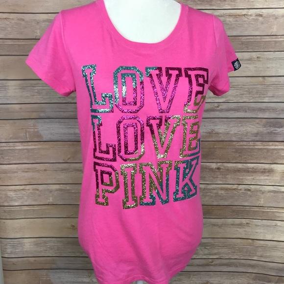35b26a7d8b3de 🆕 Victoria Secret PINK Glitter Graphic T Shirt